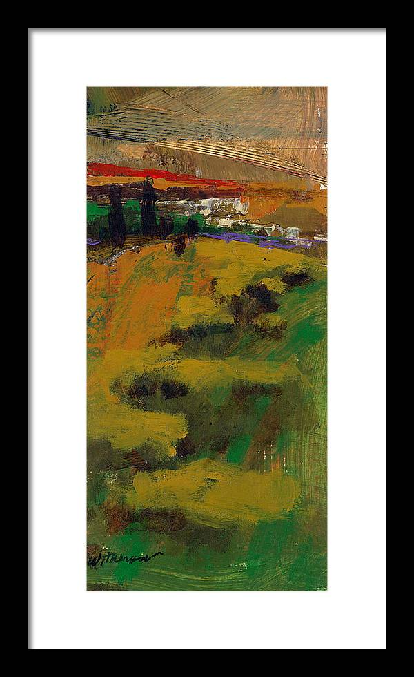 Sunset Framed Print featuring the painting Hillside by Dale Witherow