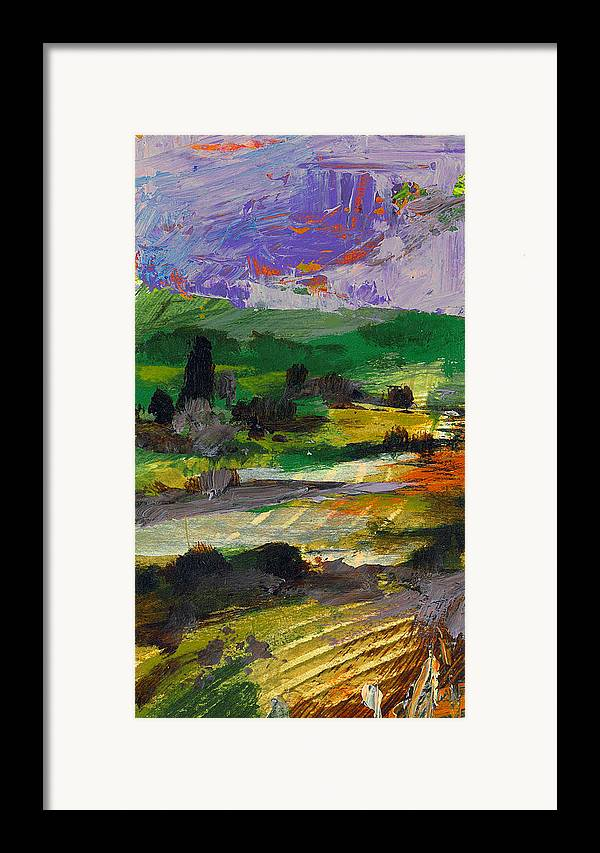 Landscape Framed Print featuring the painting Hillside Pastures by Dale Witherow