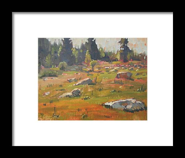 Berkshire Hills Paintings Framed Print featuring the painting Hillside Patterns by Len Stomski