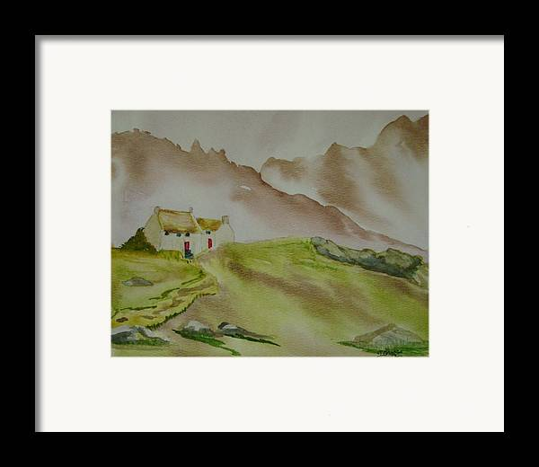 Mountains Framed Print featuring the painting Hillside Retreat by Dottie Briggs