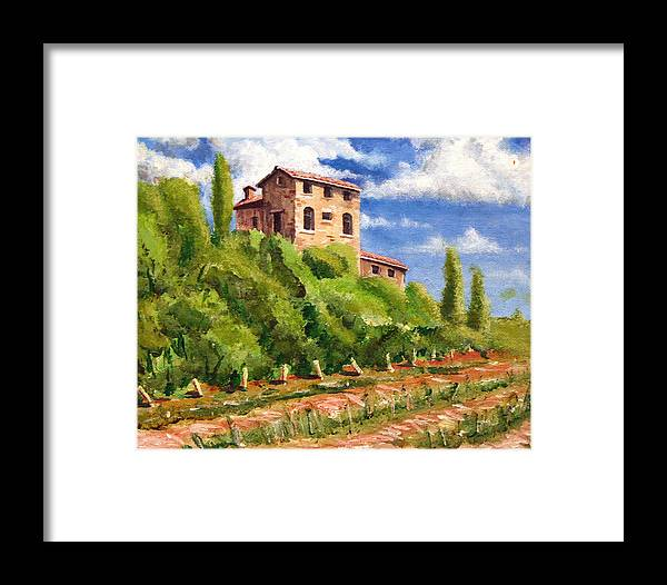 Tuscan Framed Print featuring the painting Hillside by Wesley Pack