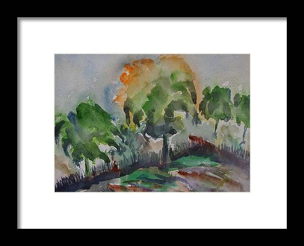 Green Nature Framed Print featuring the painting Hilly Slope by Rima