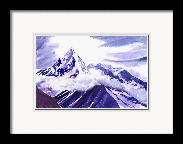 Landscape Framed Print featuring the painting Himalaya by Anil Nene