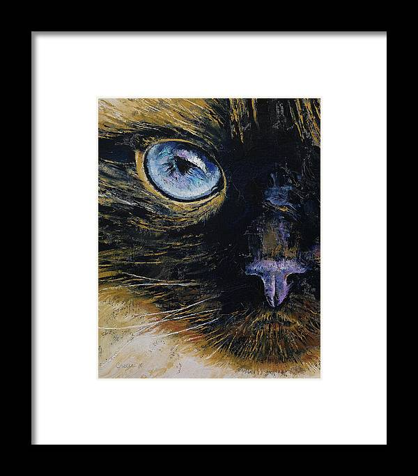 Cat Framed Print featuring the painting Burmese Cat by Michael Creese