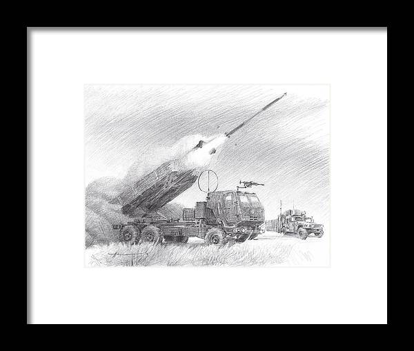 Www.miketheuer.com Himars Pencil Portrait Framed Print featuring the drawing HIMARS pencil portrait by Mike Theuer