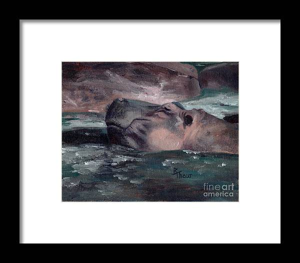 Hippo Framed Print featuring the painting Hippo by Brenda Thour