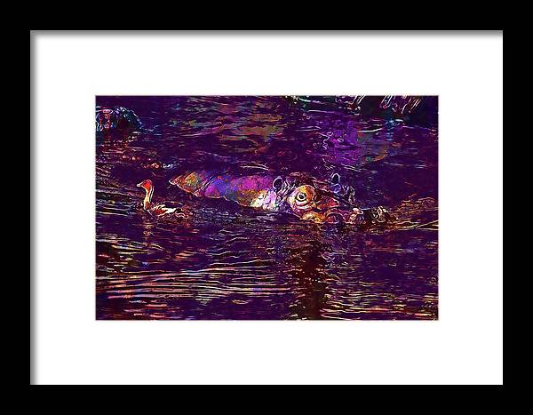 Hippopotamus Framed Print featuring the digital art Hippopotamus Hippo Mammal Grey by PixBreak Art
