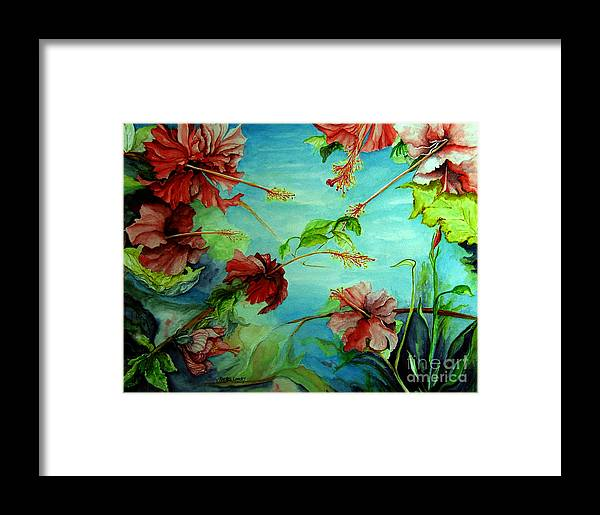 Red Framed Print featuring the painting Hiroko's Hibiscus 4 by Rachel Lowry