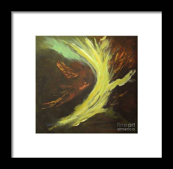 Abstract Framed Print featuring the painting His Almighty Power by Rhonda Myers