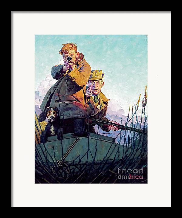 Rockwell Framed Print featuring the painting His First Duck by Norman Rockwell