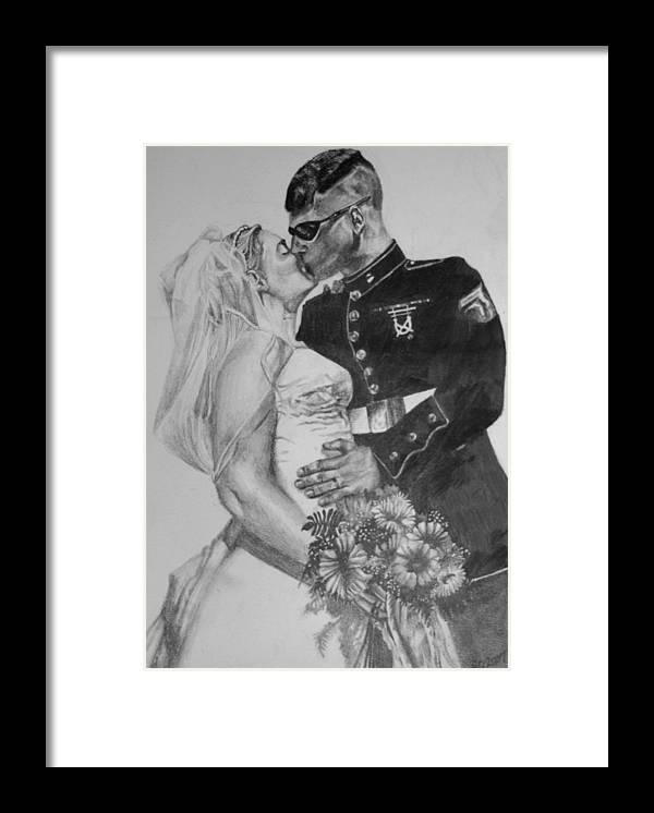 Military Framed Print featuring the drawing His Hero At Home by Darcie Duranceau