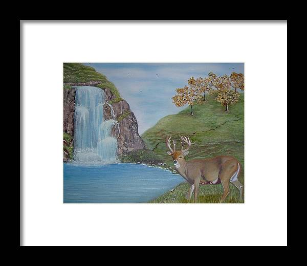 Buck Standing By A Waterfall Framed Print featuring the painting His Magesty by Mary Kaser