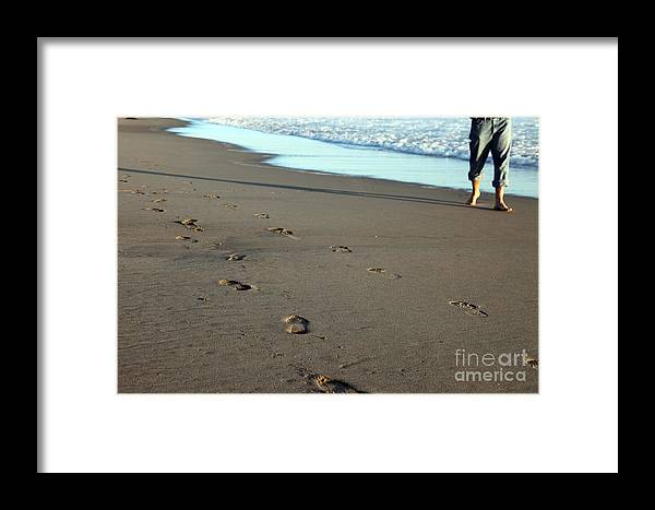 Sand Framed Print featuring the photograph His Path by Amanda Barcon