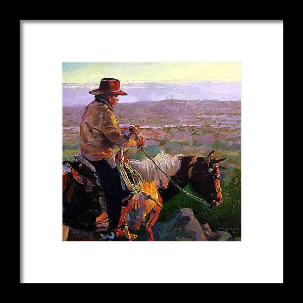Coyboy Framed Print featuring the painting His Two Best Friends by John Lautermilch