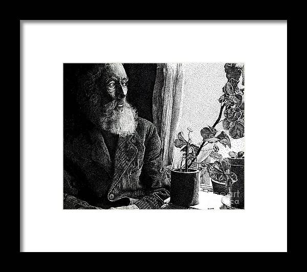 Old Man Framed Print featuring the drawing His Window On The World by Don Locke