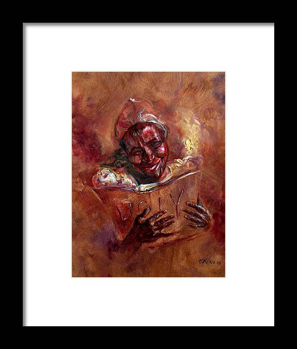 Women Framed Print featuring the painting His Word My Joy by Tommy Winn