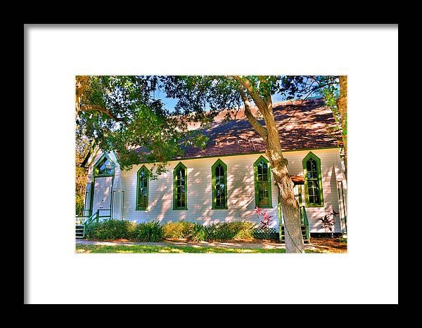 Framed Print featuring the photograph Historic Andrews Memorial Chapel Dunedin Florida 3 by Lisa Wooten