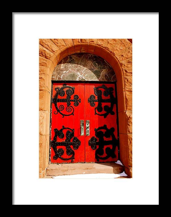 Church Framed Print featuring the photograph Historic Church Doors by Sonja Anderson