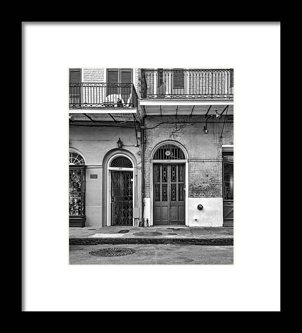 French Quarter Framed Print featuring the photograph Historic Entrances Bw by Steve Harrington