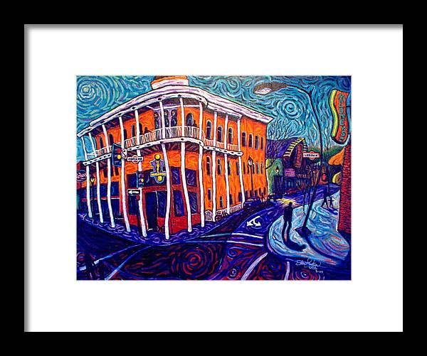 Historic Framed Print featuring the painting Historic Hotel Weatherford by Steve Lawton