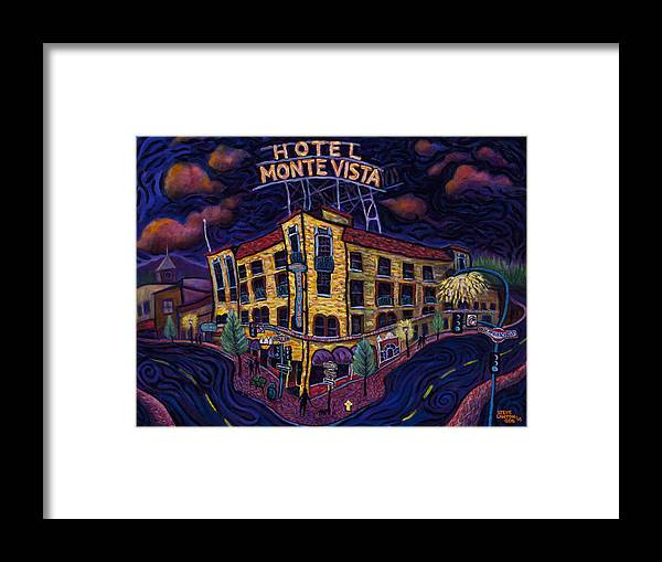 Historic Framed Print featuring the painting Historic Monte Vista Hotel by Steve Lawton