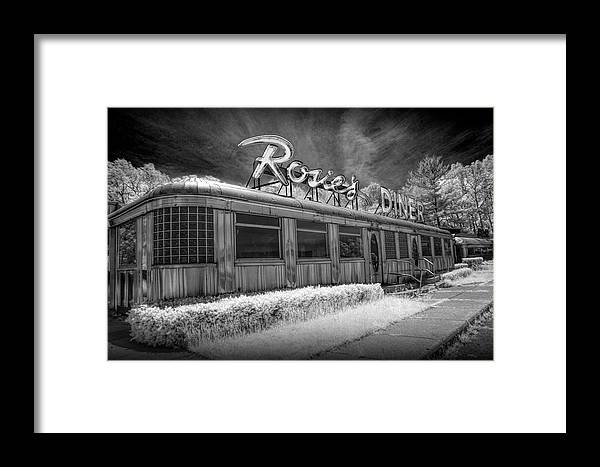 Art Framed Print featuring the photograph Historic Rosie's Diner In Black And White Infrared by Randall Nyhof