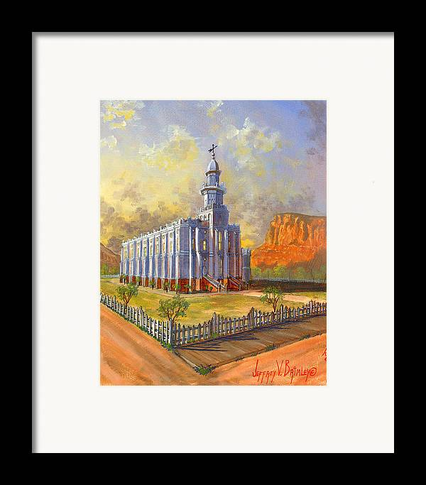 St. George Temple Framed Print featuring the painting Historic St. George Temple by Jeff Brimley