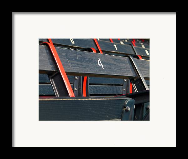 Red Sox Framed Print featuring the photograph Historical Wood Seating At Boston Fenway Park by Juergen Roth