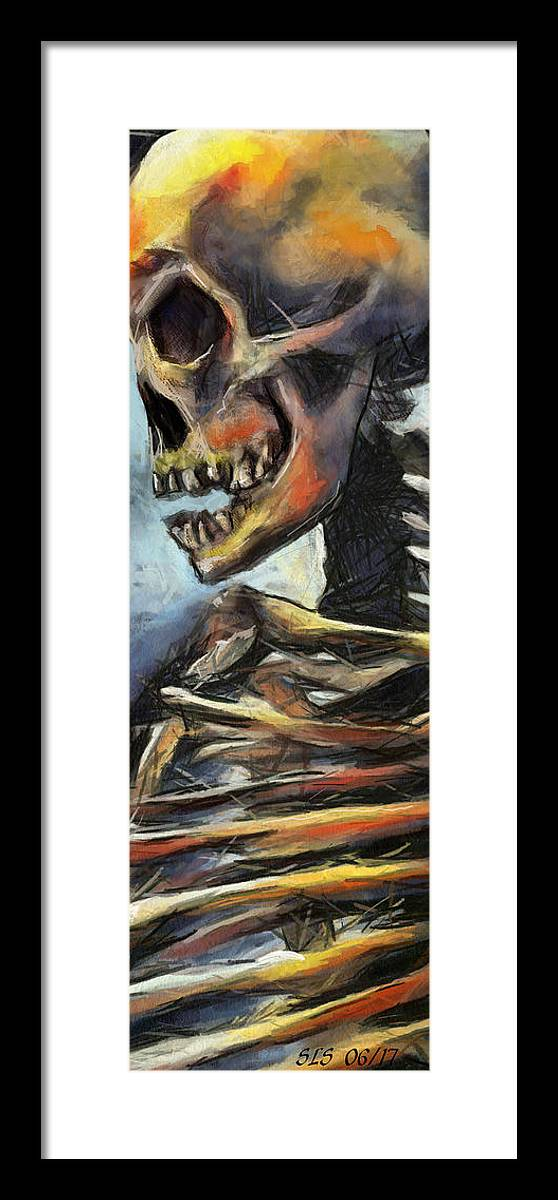 Skeletons Framed Print featuring the digital art Hit Die Exceeded by Scott Smith