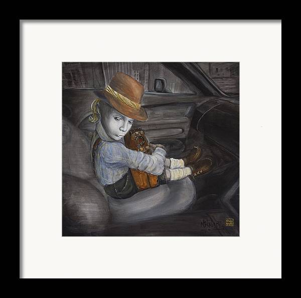 Boy Framed Print featuring the painting Hitchhiker by Nik Helbig