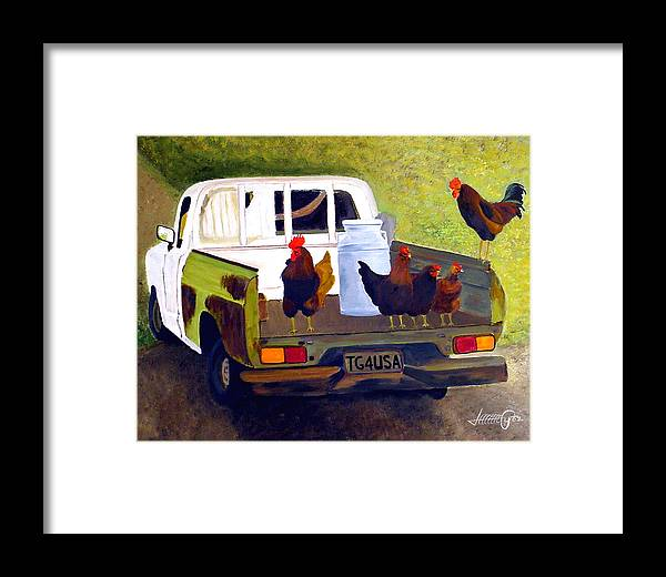 Truck Framed Print featuring the painting Hitchin' A Ride To Town by JoeRay Kelley