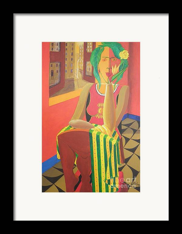 Spatial Dimension; Visual Pun; Alternative Reality; Anthropomorphic Perception; Framed Print featuring the painting Hitherto Unknown Dimension by David G Wilson