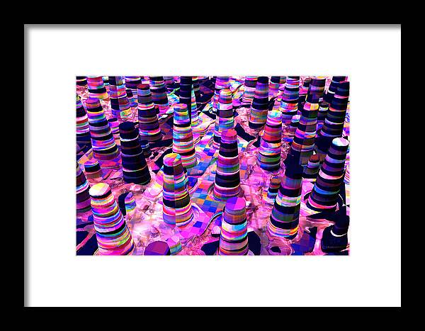 Digital; Abstract Art Framed Print featuring the digital art Hive Kwilt by Terry Anderson