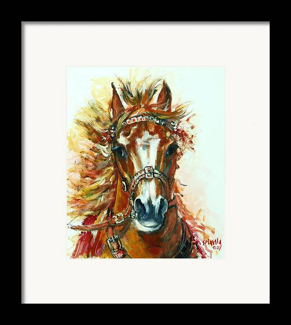 Horse Framed Print featuring the painting Hmar Pur-sang Arabe by Josette SPIAGGIA