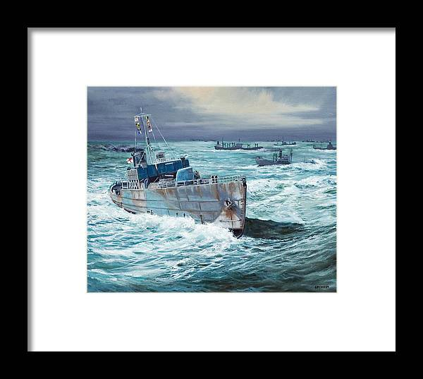 Hms Compass Rose Framed Print featuring the painting Hms Compass Rose Escorting North Atlantic Convoy by Glenn Secrest