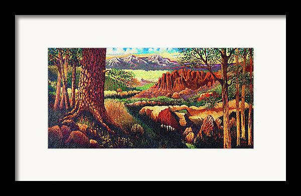 Fantasy Hobbits Rocks Trees Texas Framed Print featuring the painting Hobbit Land by Donn Kay