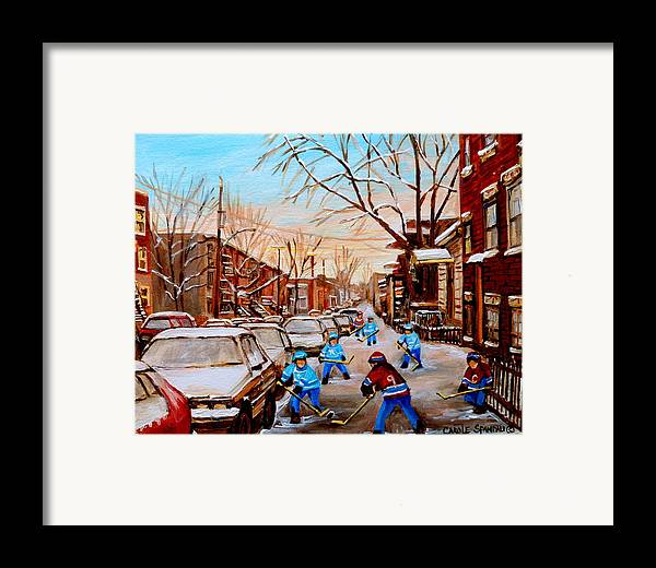 Montreal Framed Print featuring the painting Hockey Gameon Jeanne Mance Street Montreal by Carole Spandau