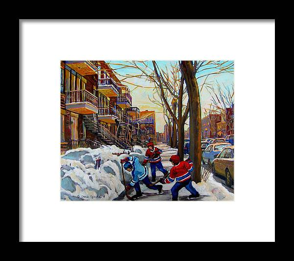 Hockey Canvas Prints Framed Print featuring the painting Hockey On De Bullion by Carole Spandau