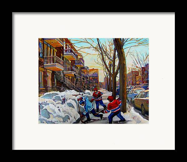 Hockey Canvas Prints Framed Print featuring the painting Hockey On De Bullion by Carole Spandau