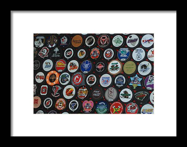 Pop Art Framed Print featuring the photograph Hockey Pucks by Rob Hans