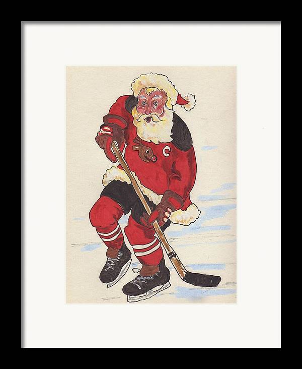 Santa Framed Print featuring the painting Hockey Santa by Todd Peterson