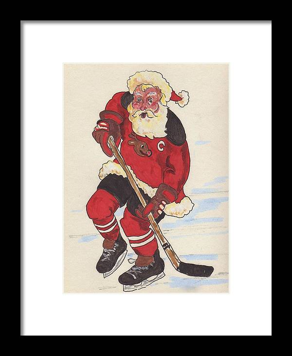 Santa Framed Print featuring the painting Hockey Santa by Todd Peterson