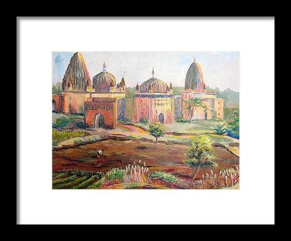 Landscape Framed Print featuring the painting Hoeing By Hand In Orchha India by Art Nomad Sandra Hansen