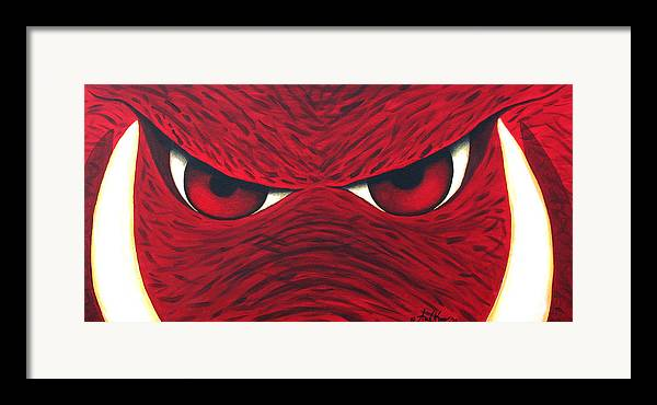 Arkansas Razorback Framed Print featuring the painting Hog Eyes 2 by Amy Parker