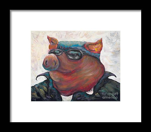 Hog Framed Print featuring the painting Hogley Davidson by Nadine Rippelmeyer