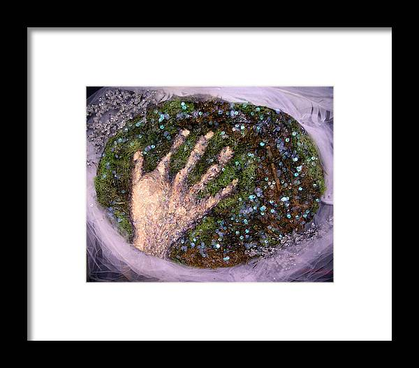 Evocative Espressionism Framed Print featuring the mixed media Holding Earth From The Series Our Book Of Common Faith by Stephen Mead