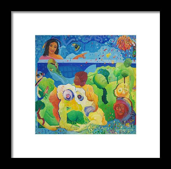 Human Relationships Framed Print featuring the painting Holding Lifes Illusion by Richard Heley