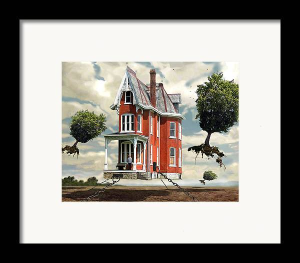 Surreal Framed Print featuring the digital art Holding On by Evelynn Eighmey