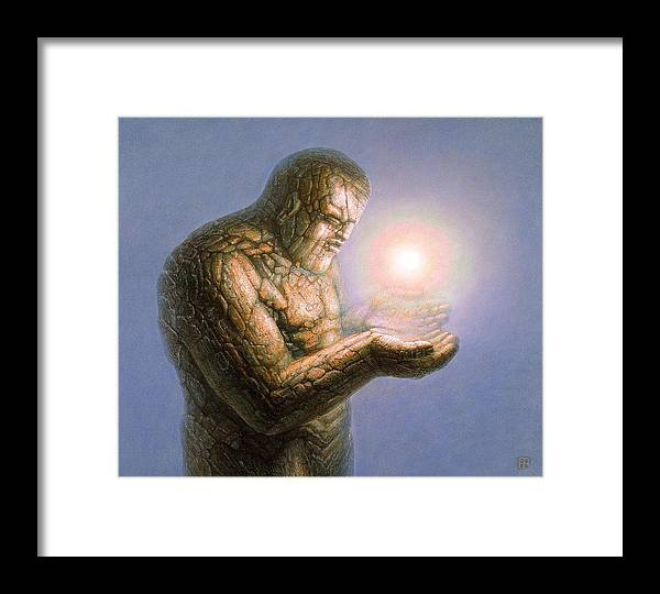 Stone Framed Print featuring the painting Holding The Light by De Es Schwertberger