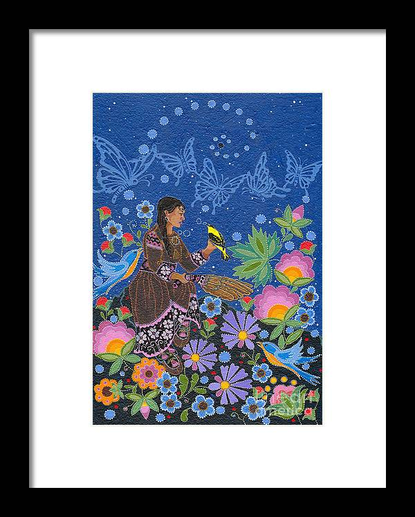 Native Women Framed Print featuring the painting Hole In the Sky's Daughter by Chholing Taha